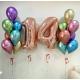 Композиция из воздушных хром шаров ассорти с цифрой 14