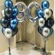 Композиция из воздушных шаров синих хром с цифрой 30