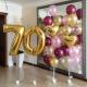 Композиция воздушные шары с сердцем с цифрой 70