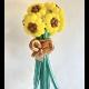 Букет подсолнухов из пастельных и хромированных шаров