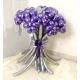 Букет фиолетово-серебряных ромашек из хром шаров
