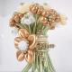 Букет ромашек с большим цветком хром