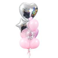 Фонтан из розовых шаров со звездой и большим сердцем