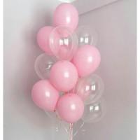 Фонтан из розовых и прозрачных шаров