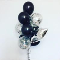 Фонтан из черных и прозрачных шаров с серебряным конфетти