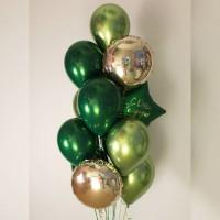 Фонтан из зеленых и салатов шаров с золотыми кругами