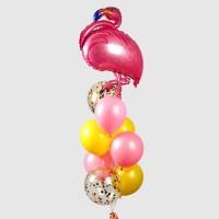 Фонтан из желтых и розовых шаров с Фламинго
