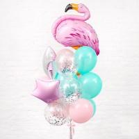 Фонтан из мятных и розовых шаров с Фламинго и звездами