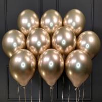 Воздушные шары золотые хром