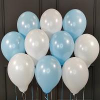 Воздушные белые и голубые шары матовые