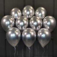 Воздушные шары серебряные хром