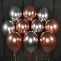 Воздушные шары розовое золото и серебряные хром
