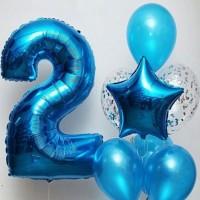 Фонтан из синих шаров кристалл с цифрой 2