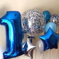 Композиция из синих шаров с большим шаром и цифрой 1