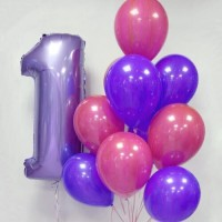 Фонтан из розово-фиолетовых шаров агат с цифрой 1