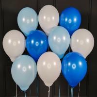 Воздушные белые, голубые и синие шары матовые