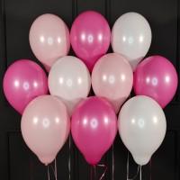 Воздушные белые, розовые и фуксия шары матовые