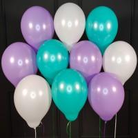 Воздушные белые, сиреневые и мятные шары