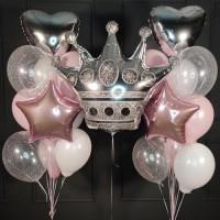 Набор шариков бело розовых с серебряной короной