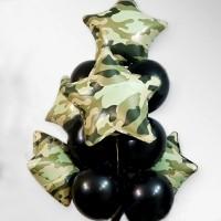 Военные черные шары со звездами камуфляж
