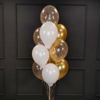 Фонтан из бело-золотых и прозрачных шаров с конфетти
