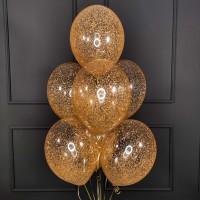 Фонтан из прозрачных шаров с золотым конфетти