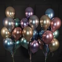 Набор из 30 хромированных шаров с гелием ассорти