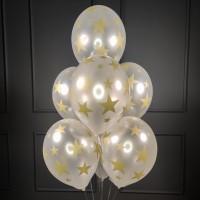 Фонтан из белых шаров со звездочками