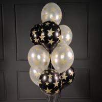 Фонтан черно-белых шаров со звездочками