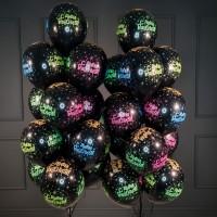 Набор шариков черных  С Днём Рождения