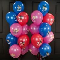 Композиция из шаров красных, розовых и синих Щенячий Патруль