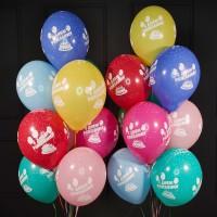 Композиция из шаров С Днём Рождения ассорти пастель