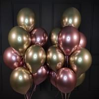 Композиция из шаров розовых и золотых хромированных