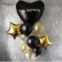 Фонтан из черных и прозрачных шаров с большим сердцем