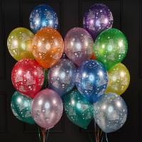 Набор шаров ассорти С Днём Рождения металлик