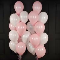 Композиция из шаров розово-белых пастель