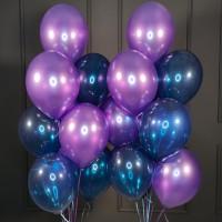 Композиция из фиолетовых и синих кристалл шаров