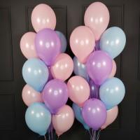 Набор из розовых, сиреневых и голубых шаров пастель