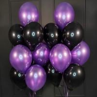 Композиция из черных и фиолетовых шаров металлик