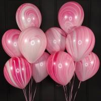 Композиция из розовых шаров агат