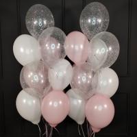 Набор шаров белых, розовых и прозрачных с конфетти