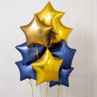 Облако из синих и золотых фольгированных сатиновых звезд