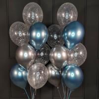 Набор из серебряных, синих и прозрачных шаров с конфетти