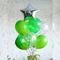 Фонтан из зеленых шаров кристалл с агатами и звездой