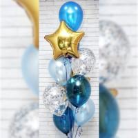 Фонтан из голубых и синих кристалл шаров со звездами