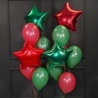 Композиция из воздушных шаров красных и зеленых со звездами