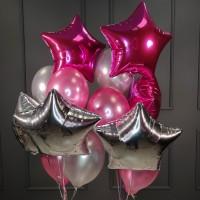 Композиция из розовых и серебряных шаров со звездами