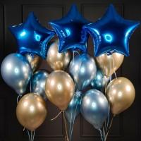 Композиция из шаров сине-золотых хромированных со звездами