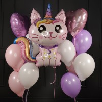 Набор из шаров розово-сиреневых с котом-единорогом