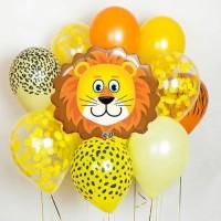 Композиция из желто-оранжевых шаров сафари со Львом